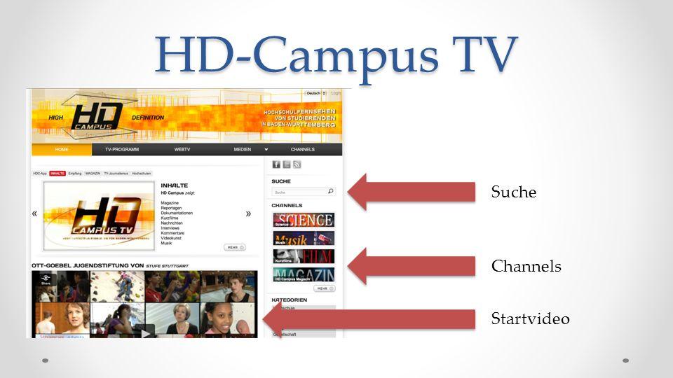 HD-Campus TV Suche Channels Startvideo