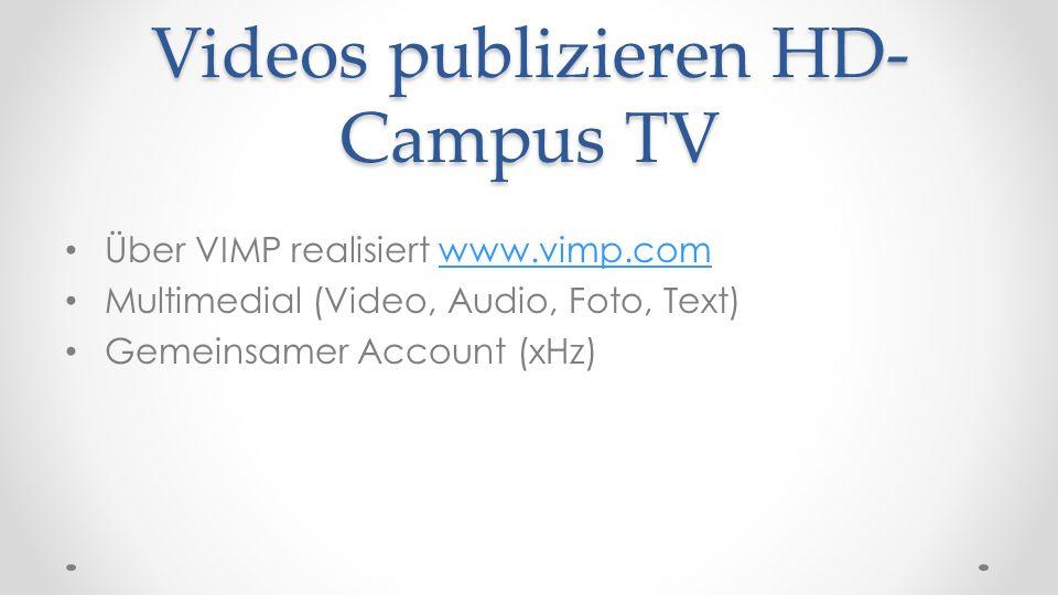 Videos publizieren HD-Campus TV