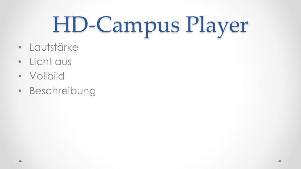 HD-Campus Player Lautstärke Licht aus Vollbild Beschreibung