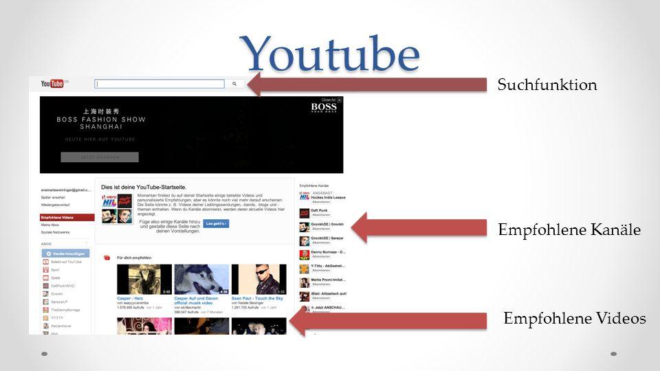 Youtube Suchfunktion Empfohlene Kanäle Empfohlene Videos
