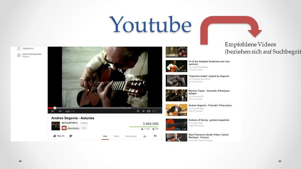 Youtube Empfohlene Videos (beziehen sich auf Suchbegriff)