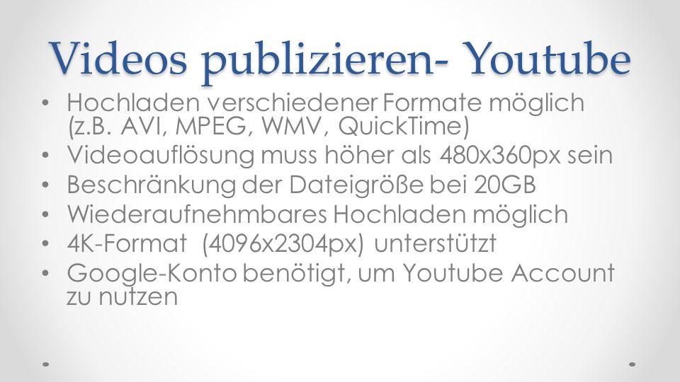 Videos publizieren- Youtube