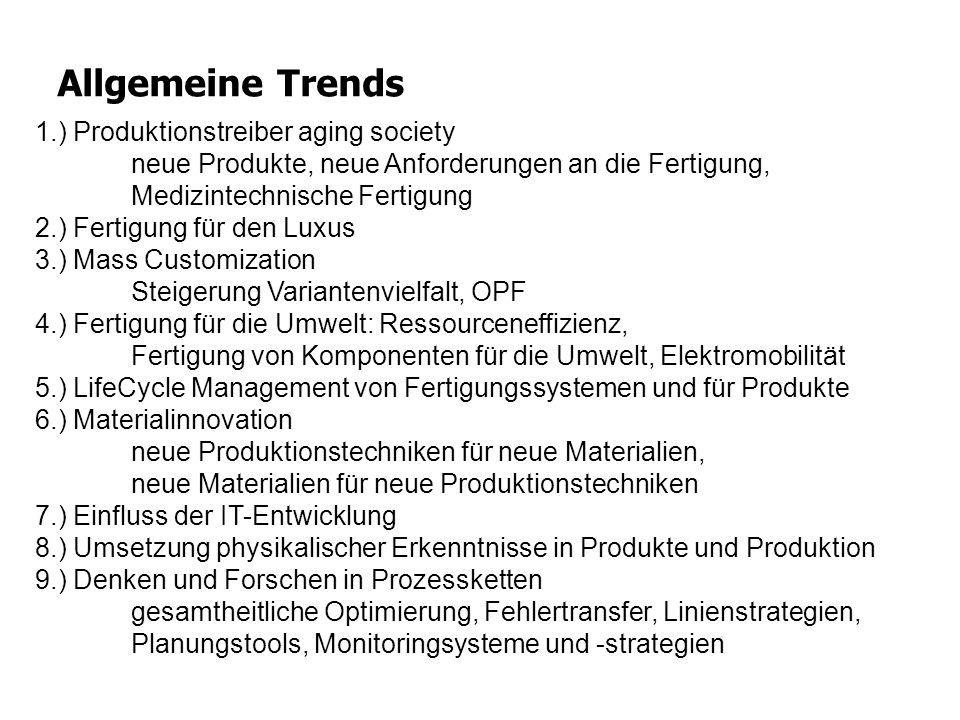 Allgemeine Trends 1.) Produktionstreiber aging society neue Produkte, neue Anforderungen an die Fertigung, Medizintechnische Fertigung.