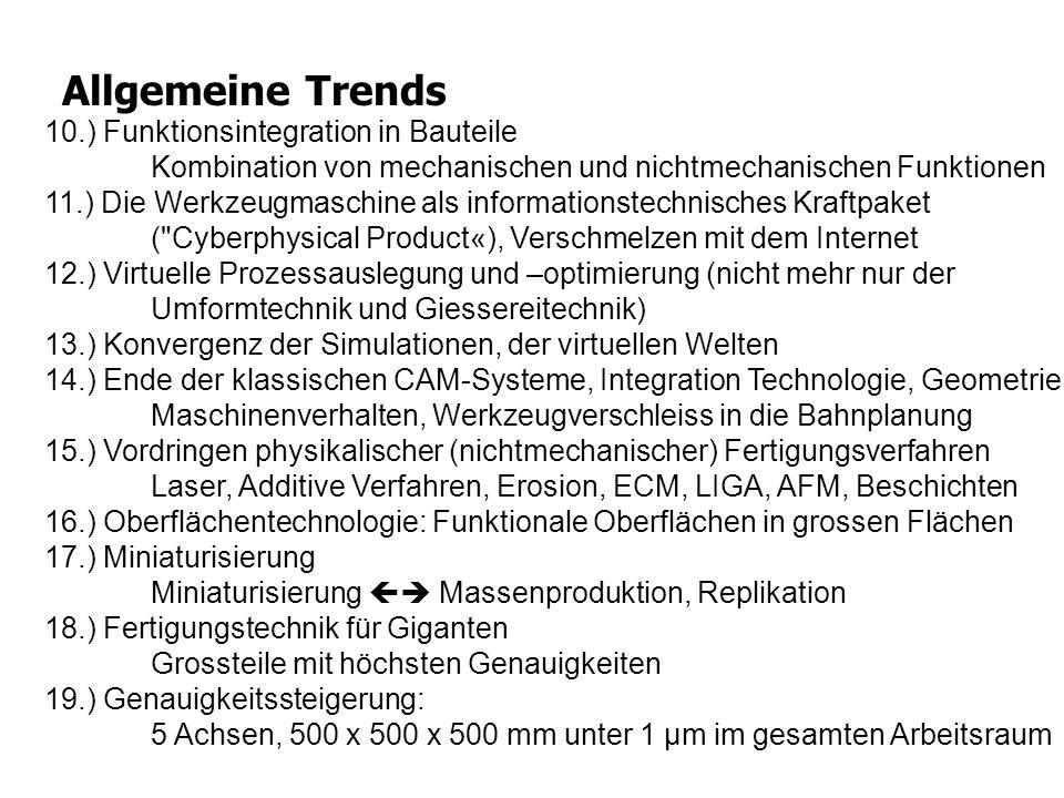 Allgemeine Trends 10.) Funktionsintegration in Bauteile Kombination von mechanischen und nichtmechanischen Funktionen.