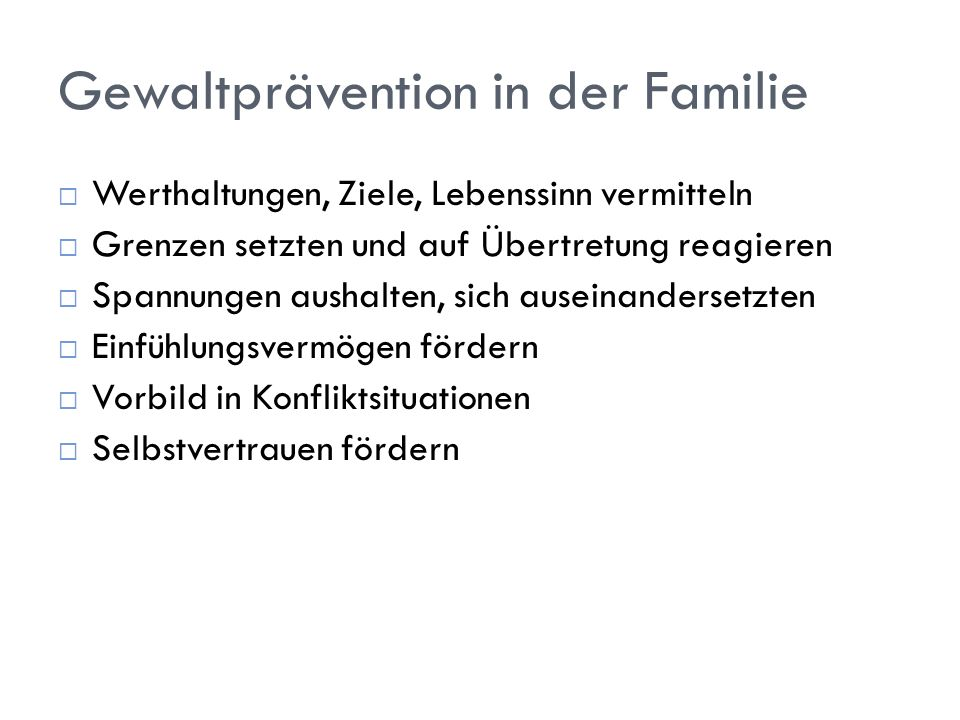 Gewaltprävention in der Familie