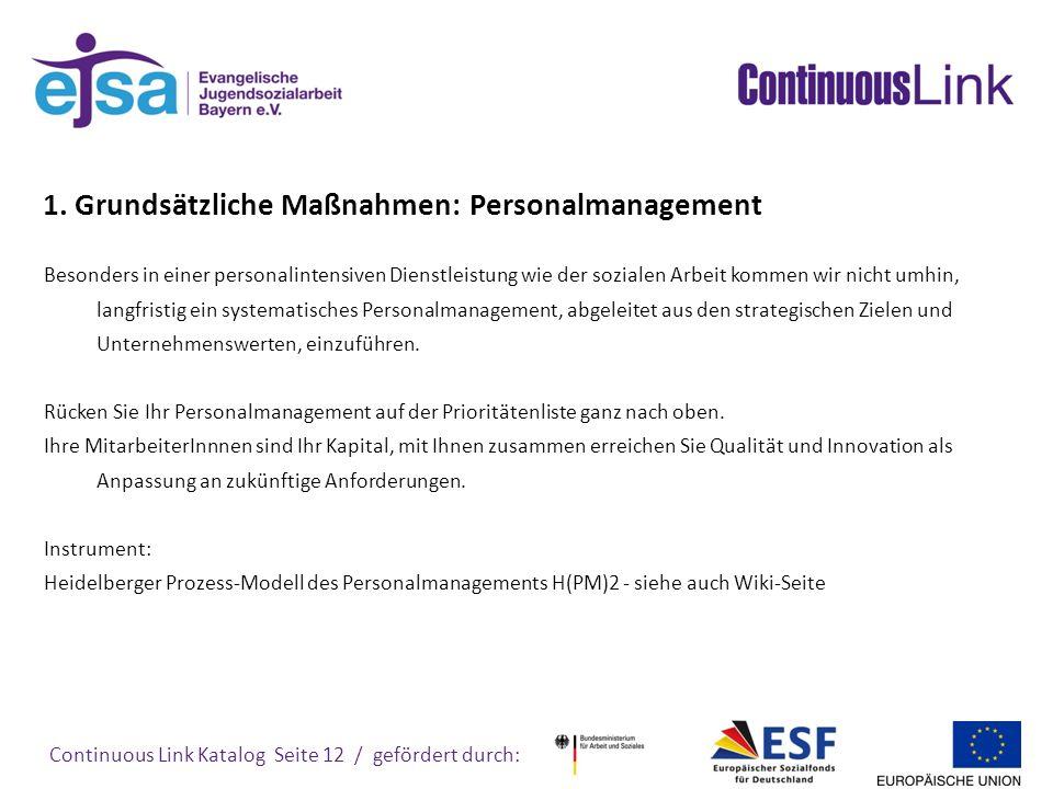 1. Grundsätzliche Maßnahmen: Personalmanagement