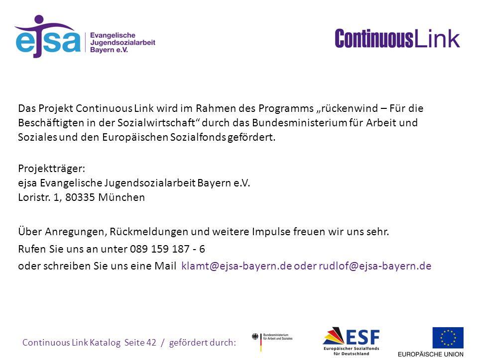 """Das Projekt Continuous Link wird im Rahmen des Programms """"rückenwind – Für die Beschäftigten in der Sozialwirtschaft durch das Bundesministerium für Arbeit und Soziales und den Europäischen Sozialfonds gefördert."""