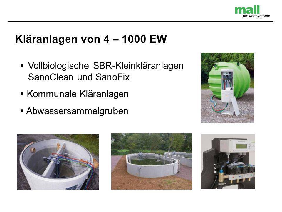 Kläranlagen von 4 – 1000 EW Vollbiologische SBR-Kleinkläranlagen SanoClean und SanoFix. Kommunale Kläranlagen.