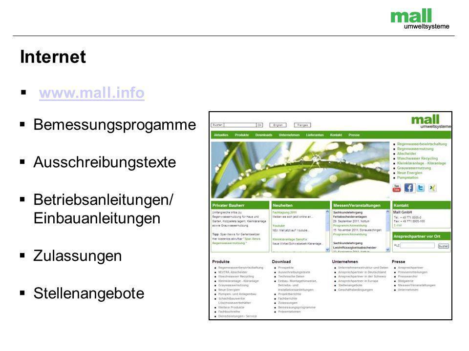 Internet www.mall.info Bemessungsprogamme Ausschreibungstexte