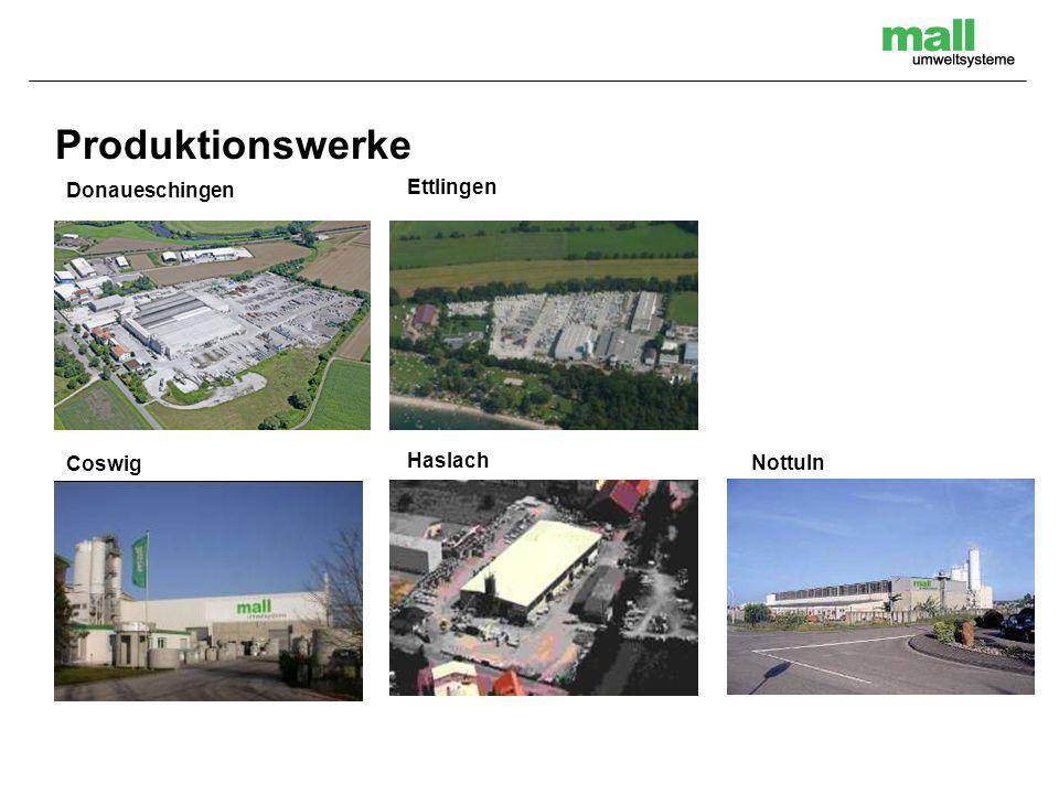 Produktionswerke Donaueschingen Ettlingen Coswig Haslach Nottuln