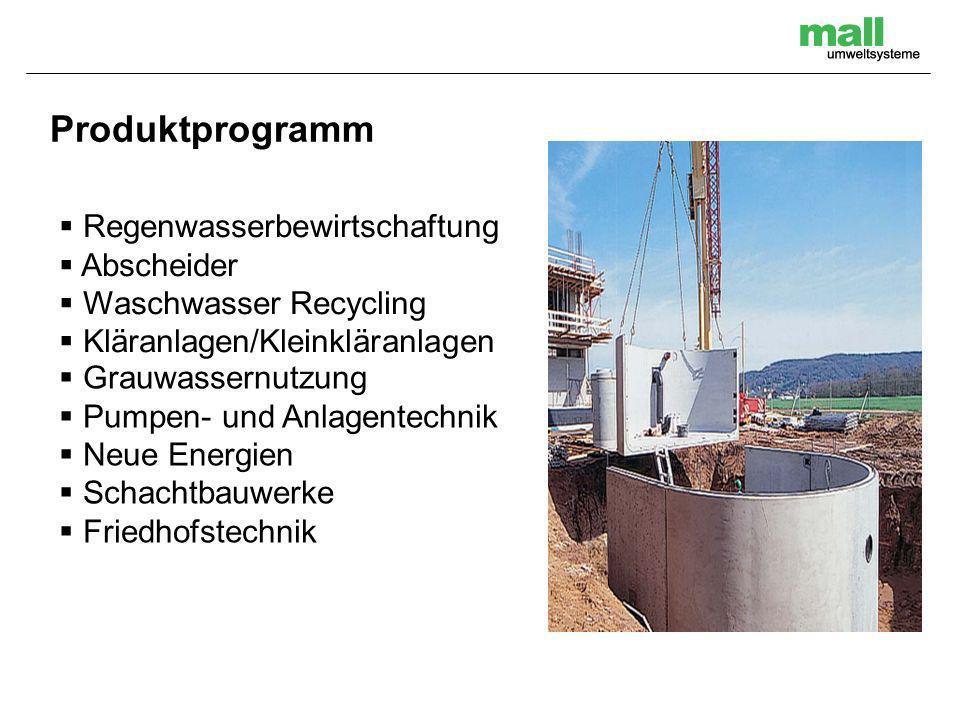 Produktprogramm Regenwasserbewirtschaftung Abscheider