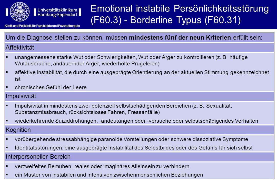Emotional instabile Persönlichkeitsstörung (F60
