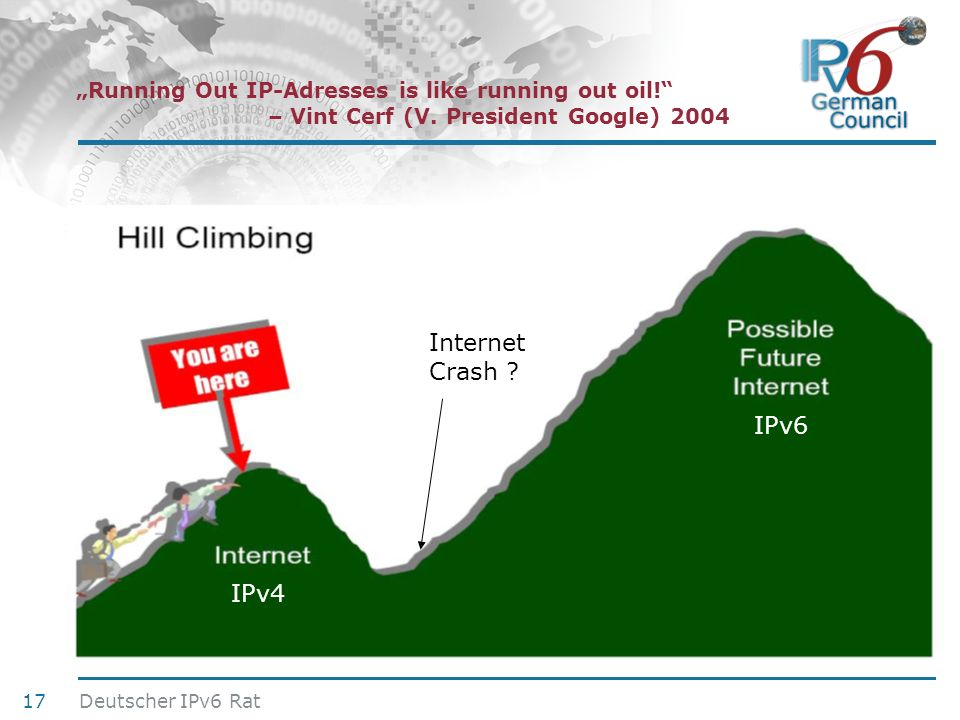 """Running Out IP-Adresses is like running out oil. . – Vint Cerf (V"