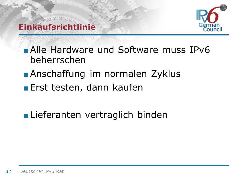 Alle Hardware und Software muss IPv6 beherrschen