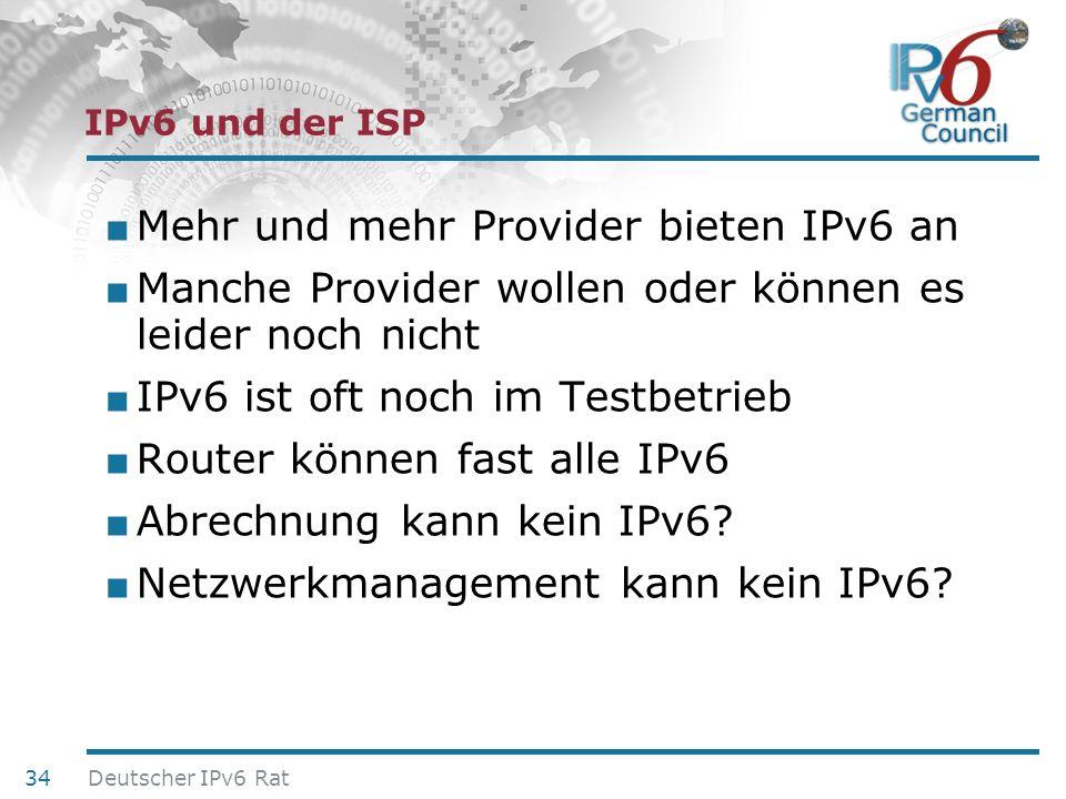 Mehr und mehr Provider bieten IPv6 an