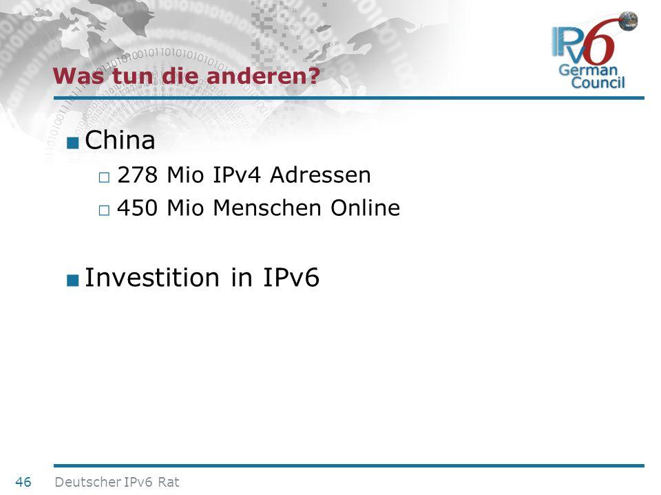 China Investition in IPv6 Was tun die anderen 278 Mio IPv4 Adressen