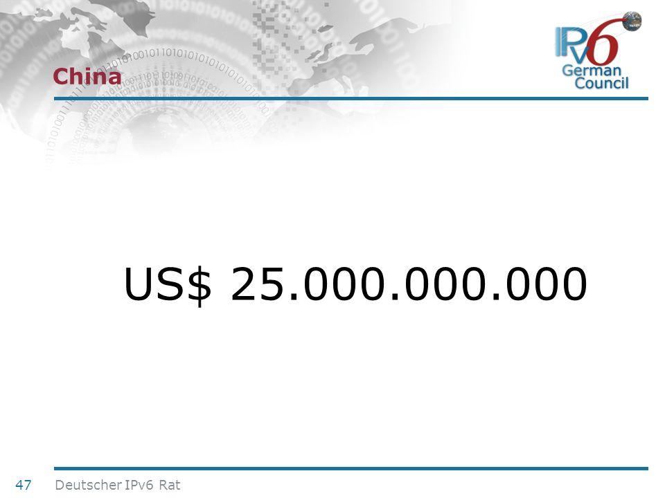 China US$ 25.000.000.000 Deutscher IPv6 Rat