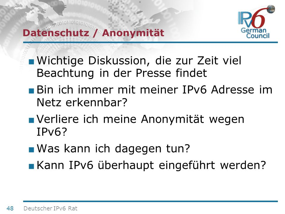 Datenschutz / Anonymität