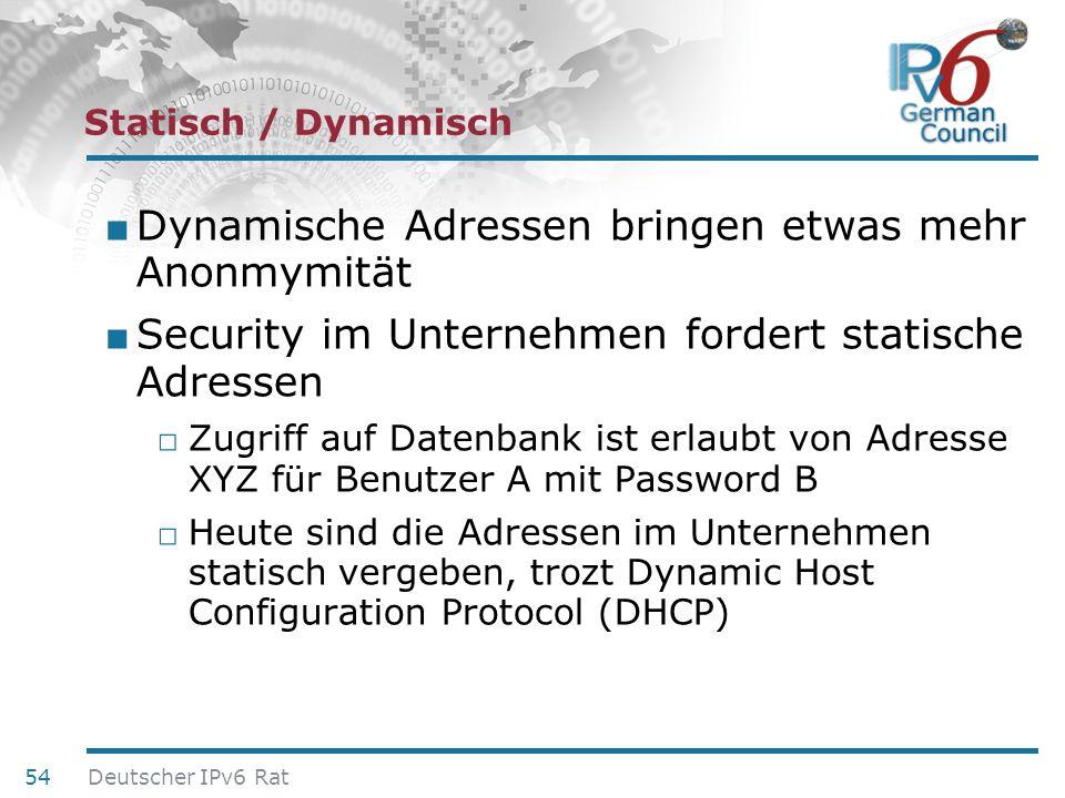 Dynamische Adressen bringen etwas mehr Anonmymität
