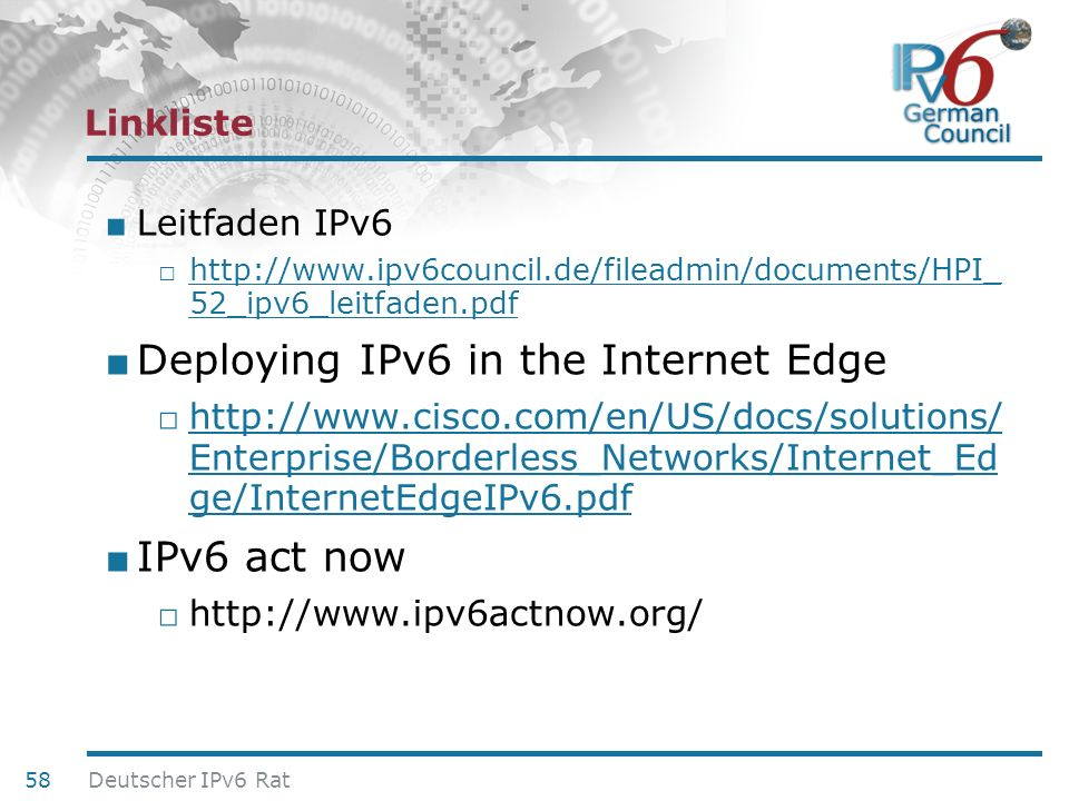 Deploying IPv6 in the Internet Edge