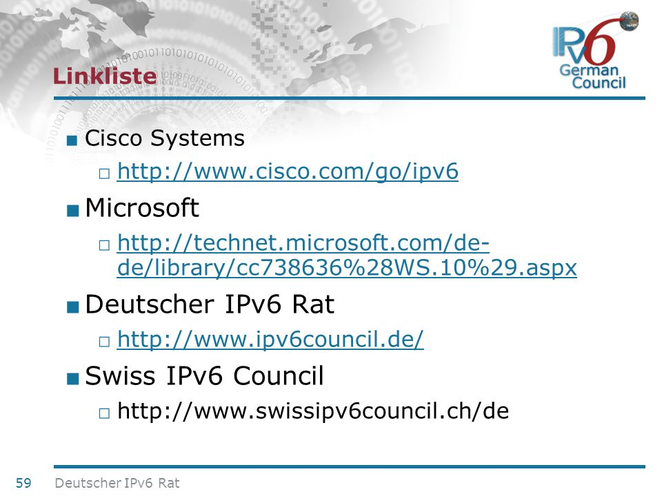 Microsoft Deutscher IPv6 Rat Swiss IPv6 Council Linkliste