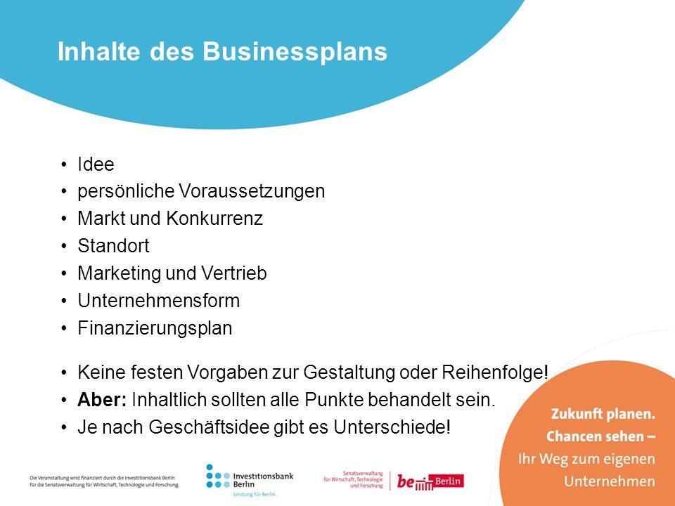 Inhalte des Businessplans