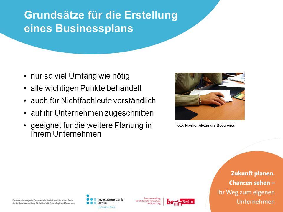 Grundsätze für die Erstellung eines Businessplans