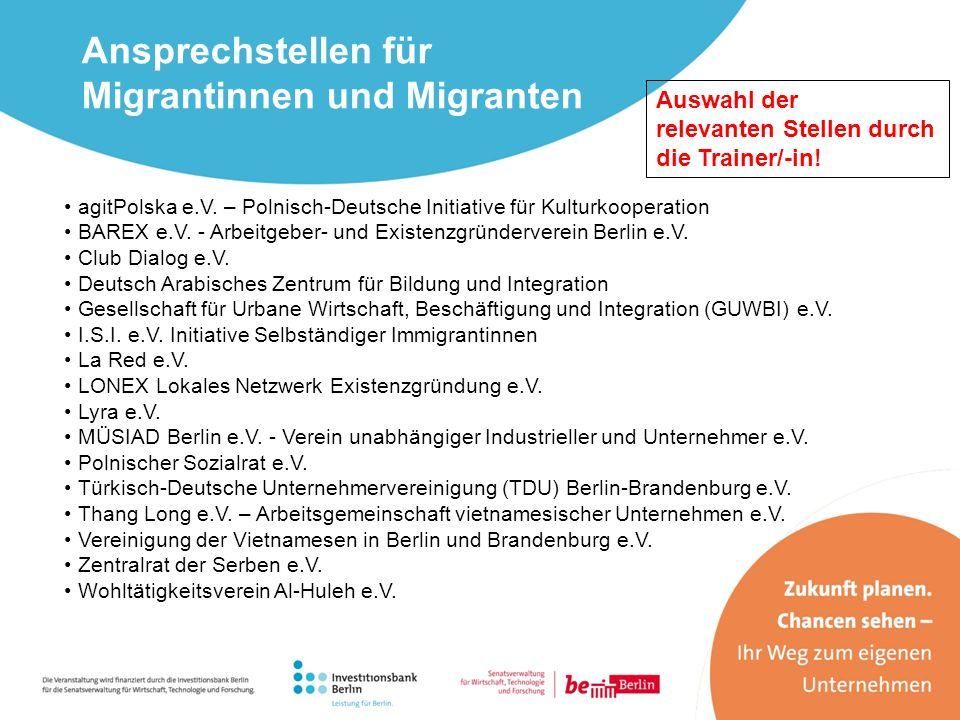 Ansprechstellen für Migrantinnen und Migranten