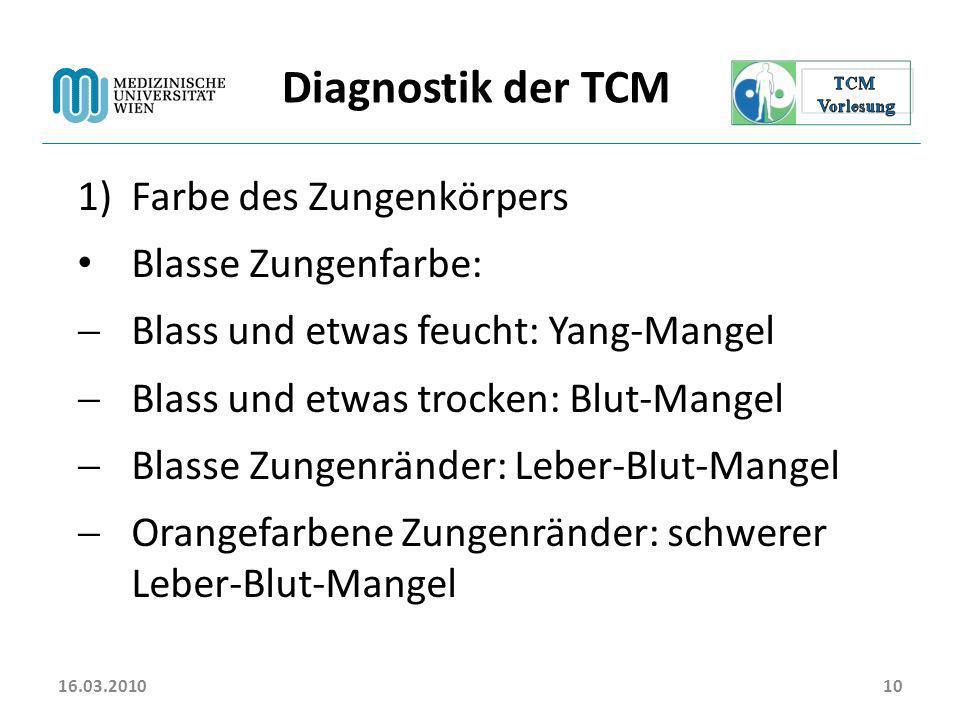 Diagnostik der TCM Farbe des Zungenkörpers Blasse Zungenfarbe: