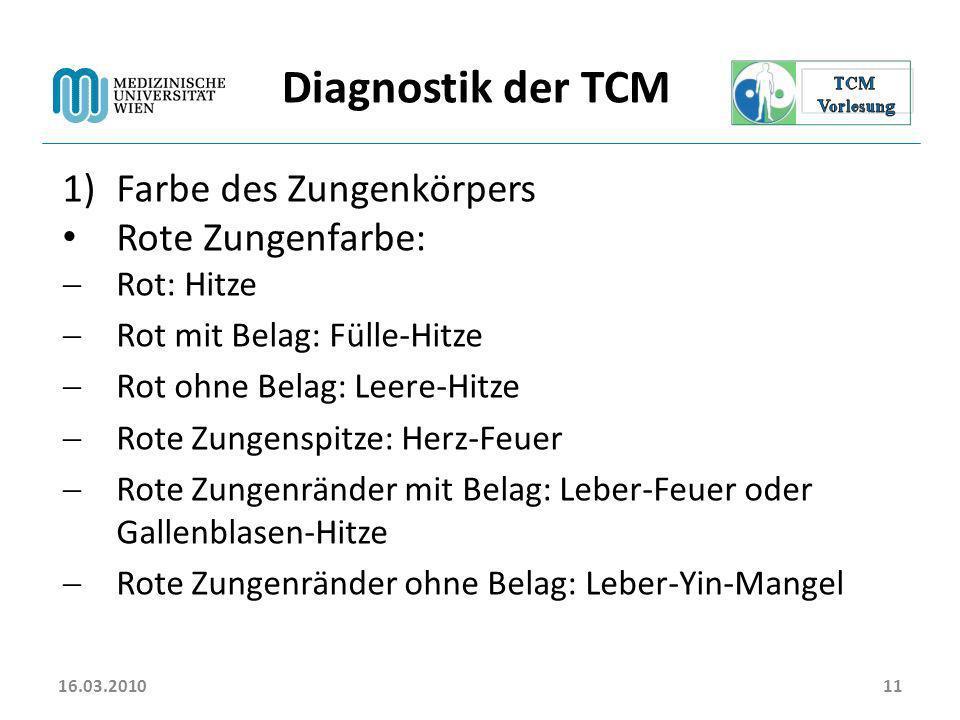 Diagnostik der TCM Farbe des Zungenkörpers Rote Zungenfarbe:
