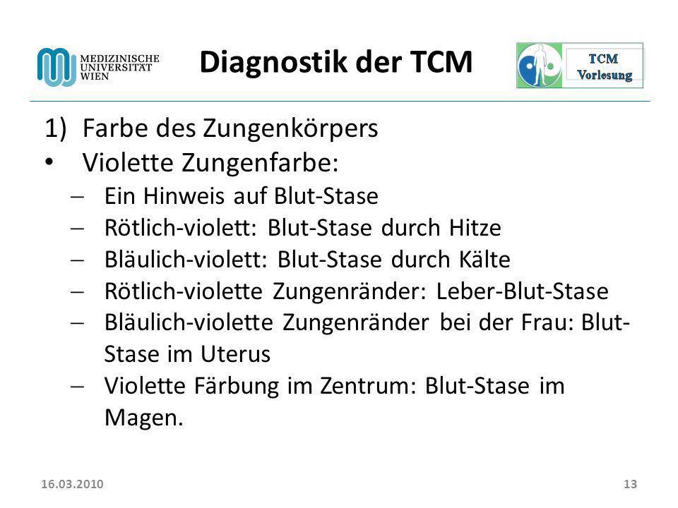 Diagnostik der TCM Farbe des Zungenkörpers Violette Zungenfarbe: