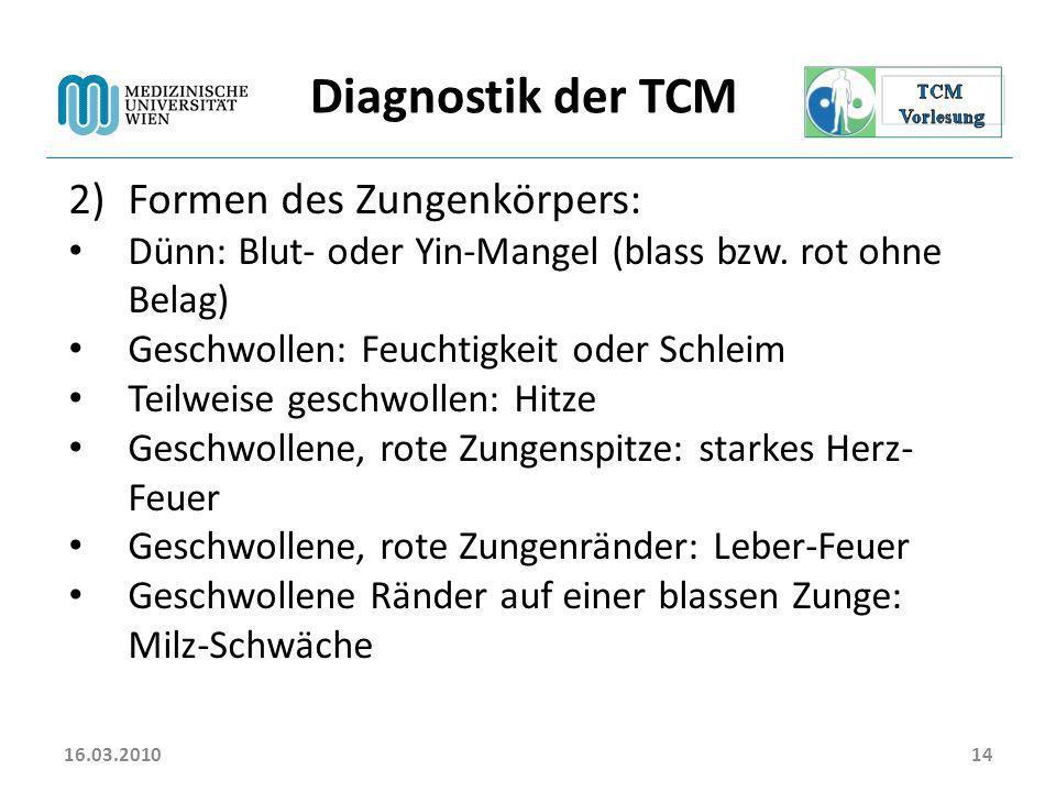 Diagnostik der TCM Formen des Zungenkörpers: