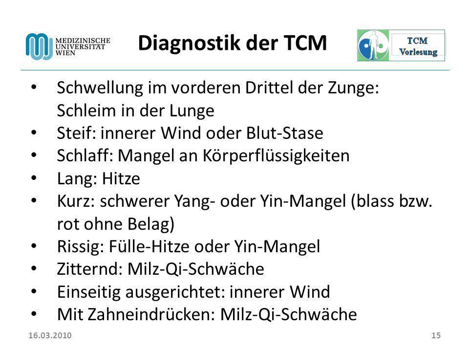 16.03.2010 Diagnostik der TCM. Schwellung im vorderen Drittel der Zunge: Schleim in der Lunge. Steif: innerer Wind oder Blut-Stase.