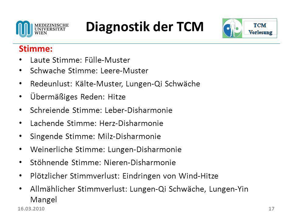 Diagnostik der TCM Stimme: Laute Stimme: Fülle-Muster