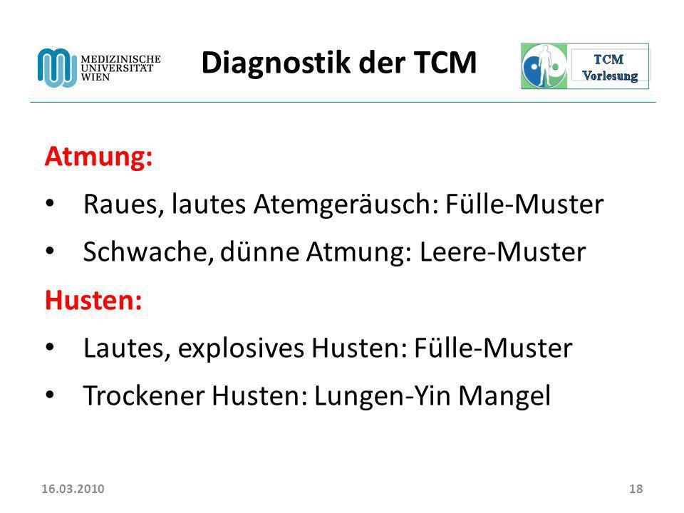 Diagnostik der TCM Atmung: Raues, lautes Atemgeräusch: Fülle-Muster