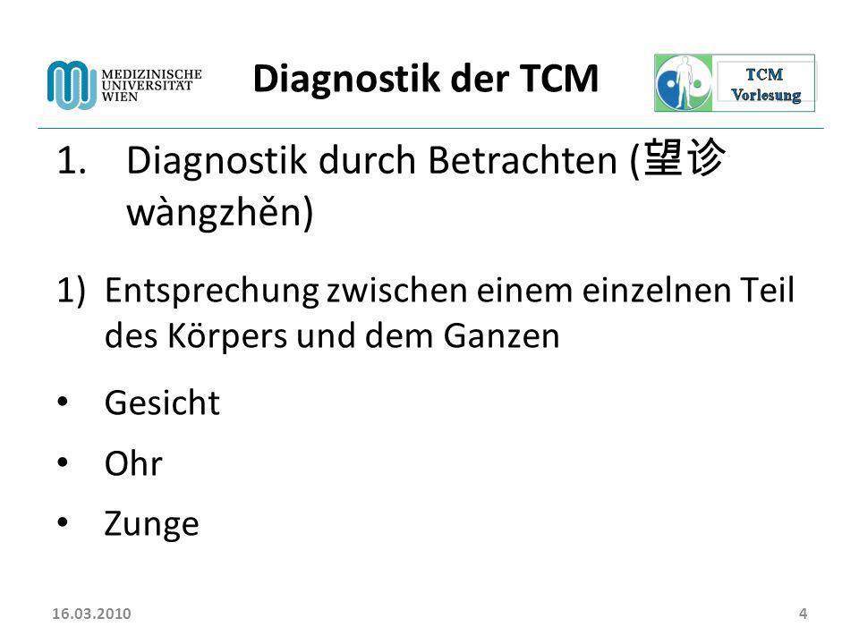 Diagnostik durch Betrachten (望诊 wàngzhěn)