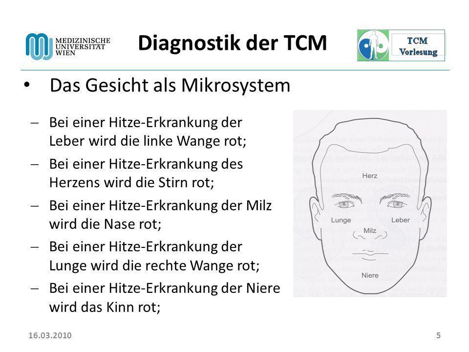 Diagnostik der TCM Das Gesicht als Mikrosystem