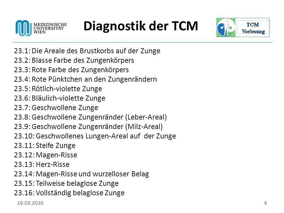 Diagnostik der TCM 23.1: Die Areale des Brustkorbs auf der Zunge