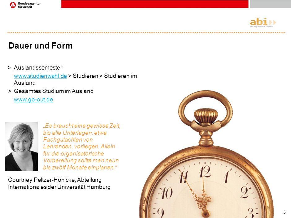 Dauer und Form Auslandssemester