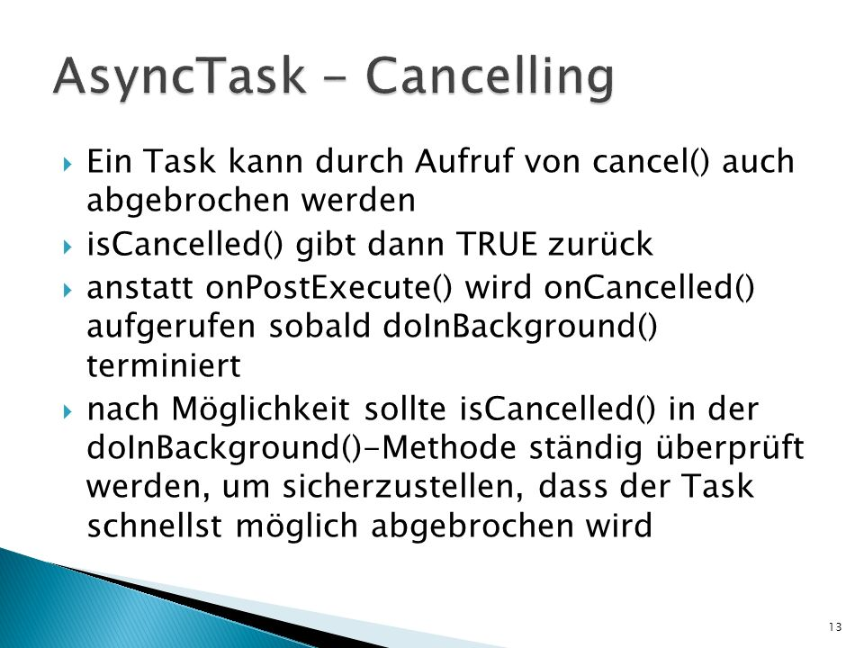 AsyncTask - Cancelling