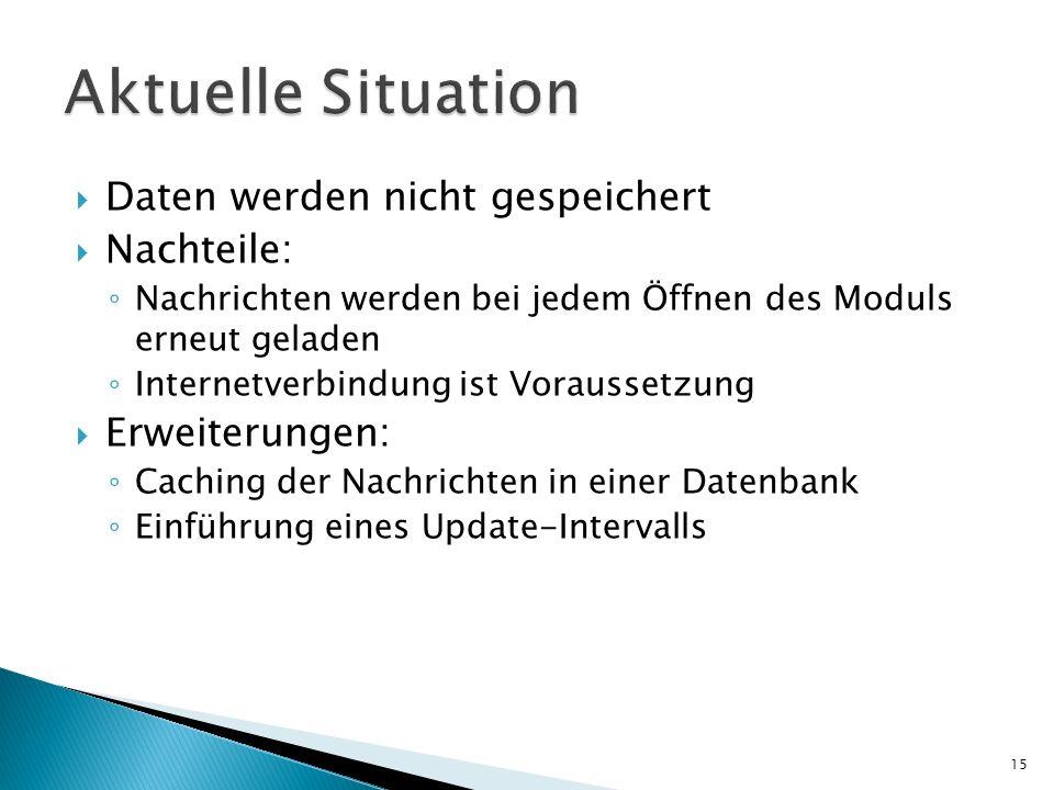 Aktuelle Situation Daten werden nicht gespeichert Nachteile:
