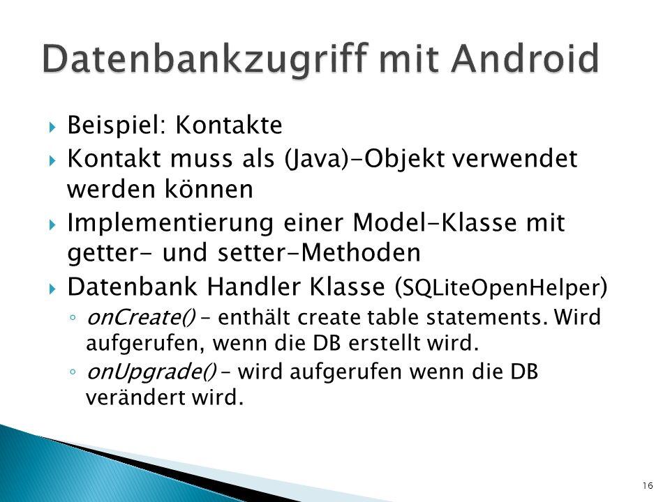 Datenbankzugriff mit Android