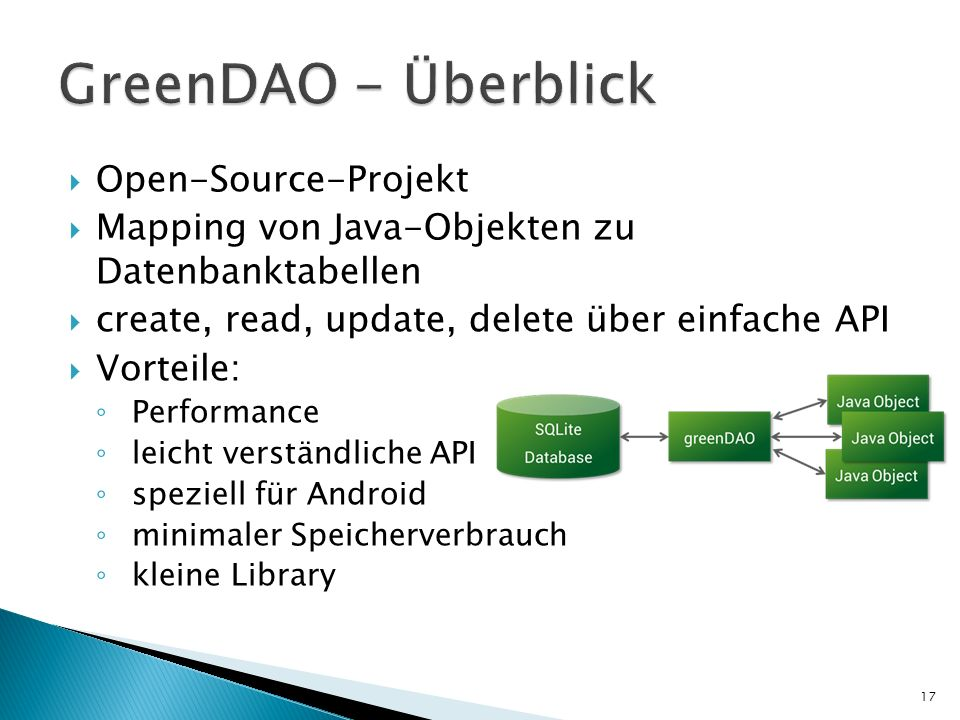 GreenDAO - Überblick Open-Source-Projekt