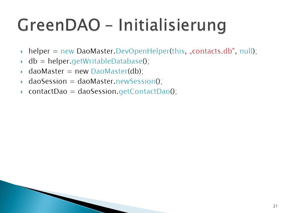 GreenDAO – Initialisierung