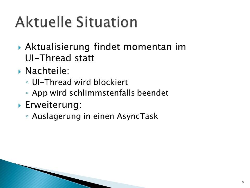 Aktuelle Situation Aktualisierung findet momentan im UI-Thread statt