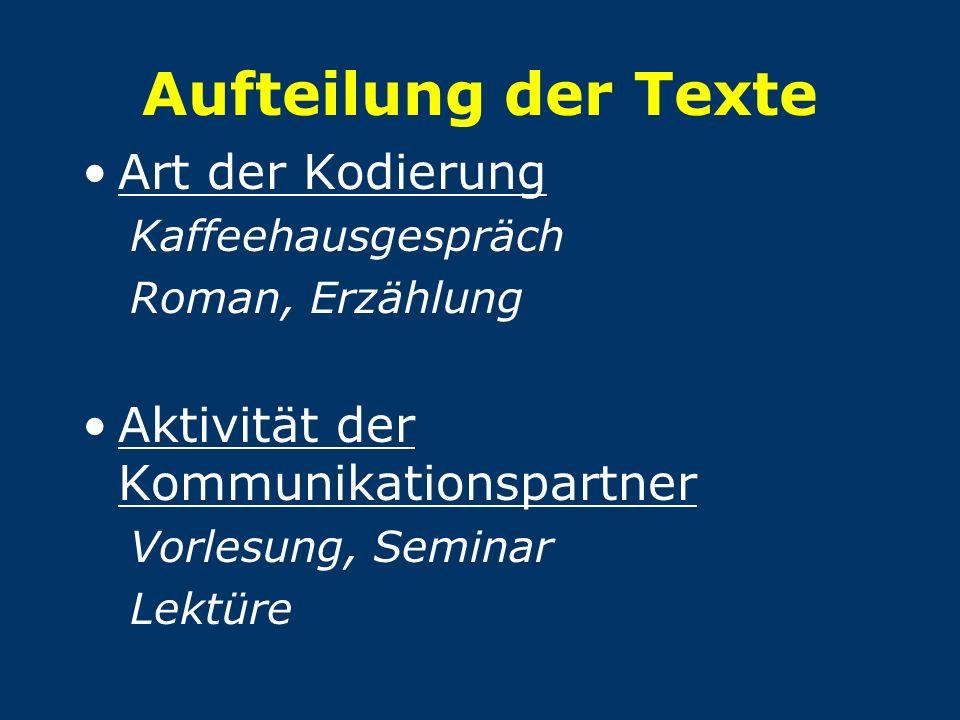 Aufteilung der Texte Art der Kodierung