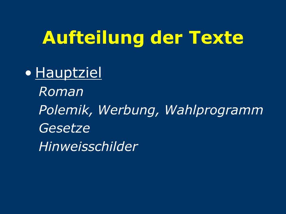 Aufteilung der Texte Hauptziel Roman Polemik, Werbung, Wahlprogramm