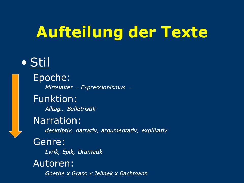 Aufteilung der Texte Stil Epoche: Funktion: Narration: Genre: Autoren: