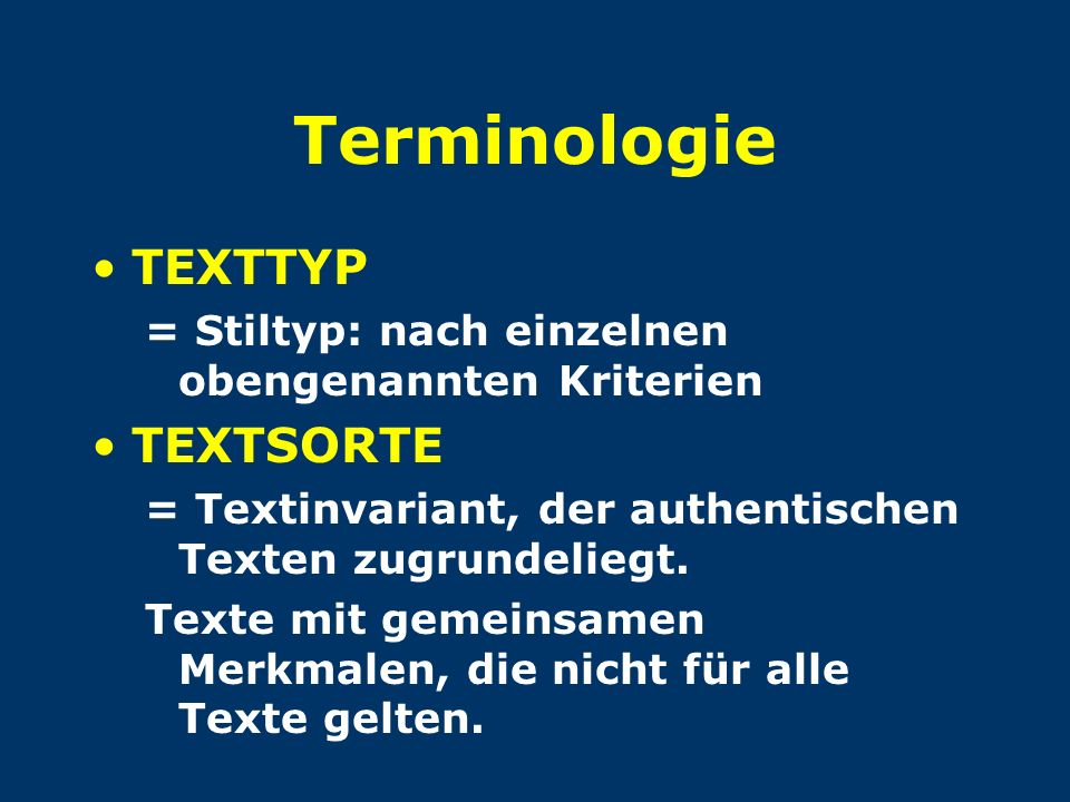 Terminologie TEXTTYP TEXTSORTE