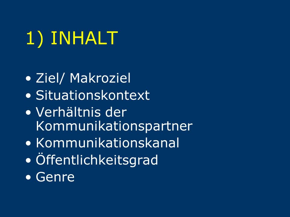 1) INHALT Ziel/ Makroziel Situationskontext
